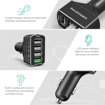 Picture of RAVPOWER 4 Port 54W 1xQC3.0|3xUSB Car Charger Black