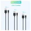 Picture of Ravpower USB to Lightning 3 Pack 1x 0.6m|1x 1m|1x 2m Cable - Black