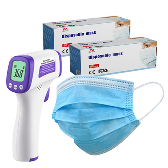 Picture of Non-Contact Infrared LED Thermometer and 100x 3-Ply Face Masks Combo