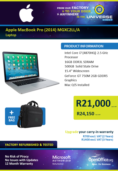 Picture of Apple MacBook Pro (2014) Laptop