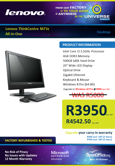 Picture of Lenovo ThinkCentre M73z All-in-One