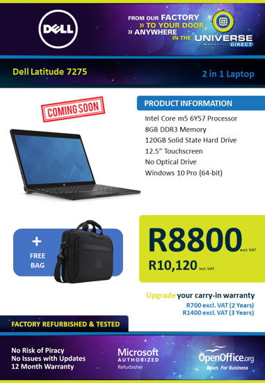 Picture of COMING SOON-Dell Latitude E7275 2 in 1 Laptop