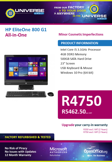 Picture of BEST DEAL-HP EliteOne 800 G1 i5 All-in-One