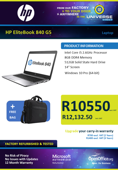 Picture of HP EliteBook 840 G5 i5 Laptop