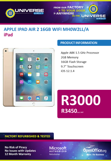 Picture of BEST DEAL-Apple iPad Air 2 16GB Wi-Fi MH0W2LL/A
