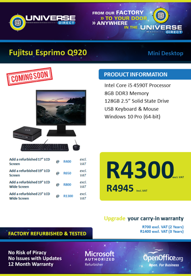 Picture of COMING SOON-Fujitsu Esprimo Q920 i5 Desktop