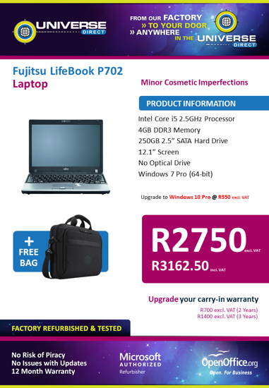 Picture of BEST DEAL - Fujitsu LifeBook P702 i5