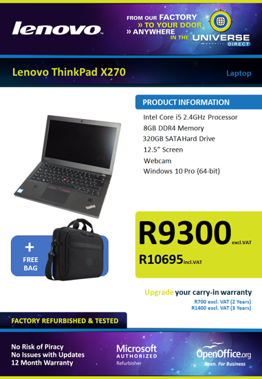 Picture of Lenovo ThinkPad X270 i5 Laptop