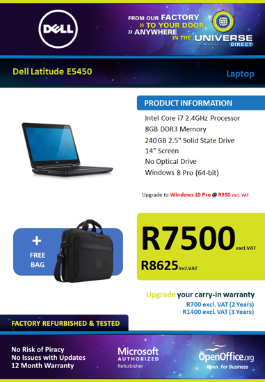 Picture of Dell Latitude E5450 i7 240GB SSD Laptop
