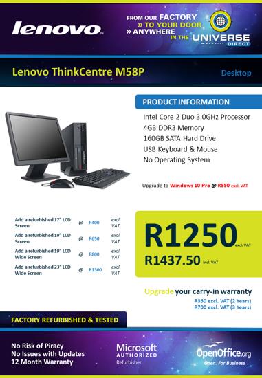 Picture of Lenovo ThinkCentre M58p C2D 160GB No OS Desktop
