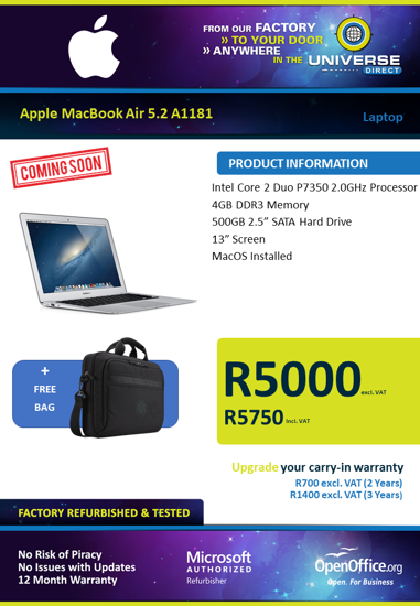 Picture of COMING SOON-Apple MacBook Air 5.2 A1181 C2D 4GB MacOS Laptop
