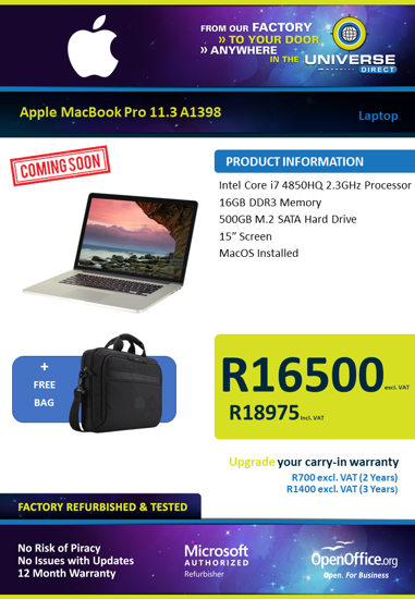 Picture of COMING SOON-Apple MacBook Pro 11.3 A1398 i7 16GB 500GB MacOS Laptop