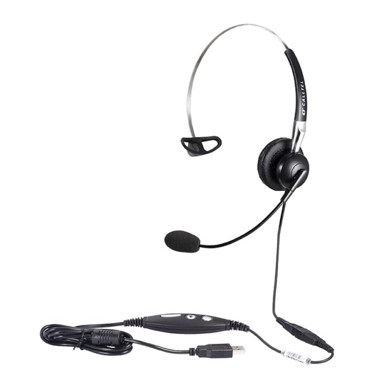 Picture of Calltel H650NC Mono-Ear Noise-Cancelling Headset + UC2000T Quick Disconnect USB Sound Card Adapter Cable