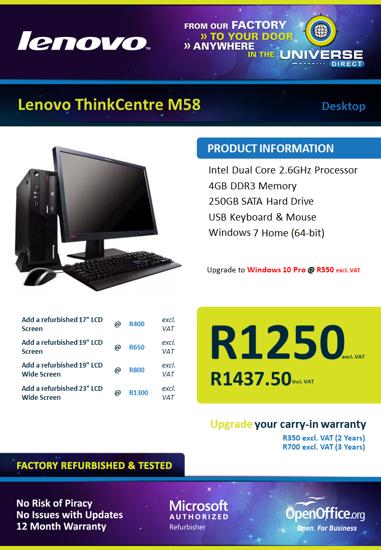 Picture of Lenovo ThinkCentre M58 DC 4GB 250GB W7H Desktop