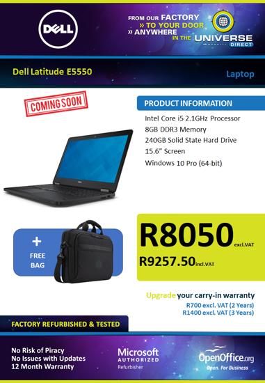 Picture of COMING SOON-Dell Latitude E5550 i5 8GB 240GB W10P Laptop