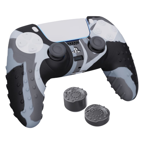 Picture of Sparkfox PlayStation 5 Silicone FPS Grip Pack Skin and Thumb Caps - Camo Grey