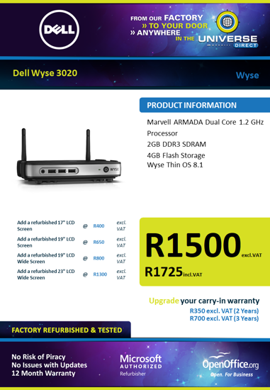 Picture of Dell Wyse 3020 DC 1.2 2GB 4GB Desktop