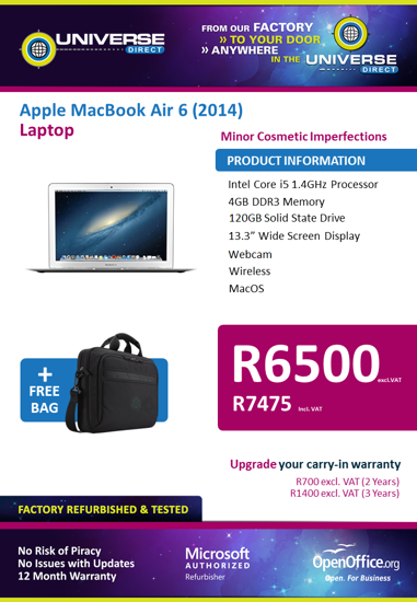 Picture of BEST DEAL-Apple MacBook Air 6 (2014) i5 4GB 120GB Laptop