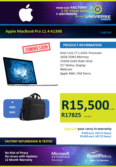 "Picture of COMING SOON-Apple MacBook Pro 11.4 A1398 i7 16GB 256GB 15"" Laptop"