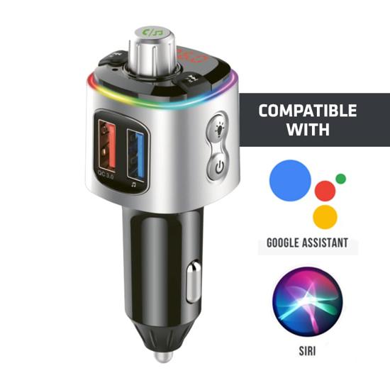Picture of GIZZU Bluetooth 5.0 Hands Free Kit BC58 with FM transmitter RGB LED Interface 1 x Music USB Port 1 x QC3.0 Port 1 x MicroSD slot (64GB Max)