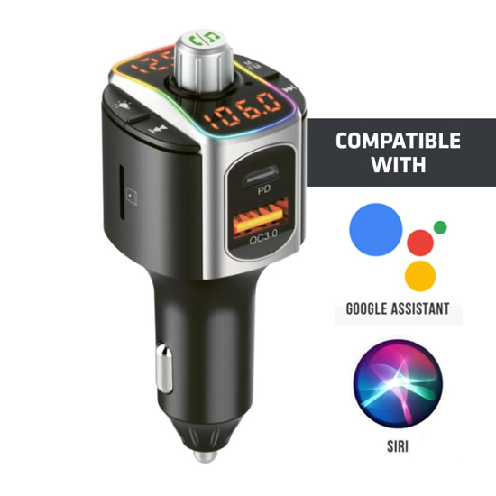 Picture of GIZZU Bluetooth 5.0 Hands Free Kit BC67 with FM transmitter RGB LED Interface 1 x Type-C PD Port|1 x QC3.0 Port|1 x MicroSD slot (64GB Max)