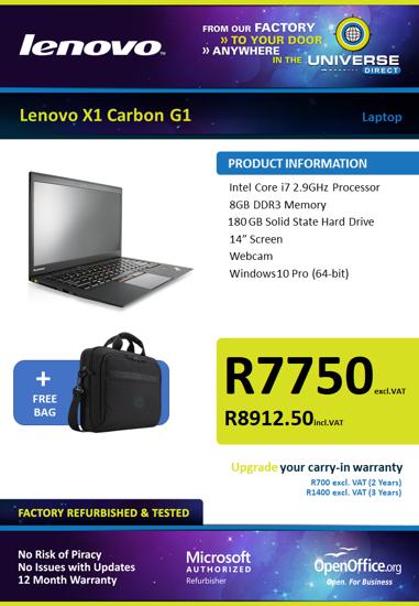 Picture of Lenovo ThinkPad X1 Carbon G1 i7 8GB 180GB W10P Laptop